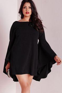 Stylish Flare Long Sleeve Round Neck Plus Size Swing Little Black Dress