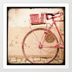 Pink bike - nursery art, girls' room decor, wall art, TTV vintage style print by Twiggs Photography