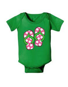 TooLoud Cute Polka Dot Flip Flops - Pink and Green Baby Bodysuit Dark