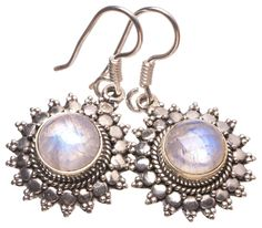 "Amazon.com: StarGems(tm) Natural Rainbow Moonstone Handmade Indian 925 Sterling Silver Earrings 1 1/4"": Clothing"