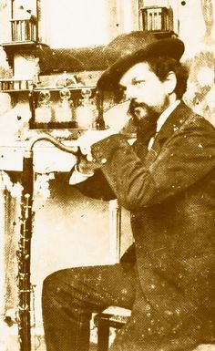 Claude Debussy with a bass clarinet