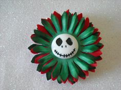 White Skeleton Halloween Green and Red Flower by OctoberPetals, $13.25