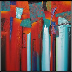 No Day Without Art by Nancy Eckels: Hot and Sizzle by Nancy Eckels - abstract, contemporary, modern art, painting