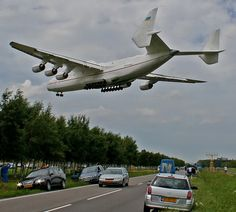 Largest airplane in the world. An Antonov AN-225 on final approach at Schiphol airport.