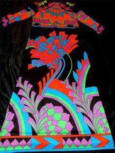 Vtg CIRETTE (Division of Paganne) NEON Floral PsYcHeDeLiC Festival MAXI*M/L*FAB! #CiretteDivisionofPAGANNE