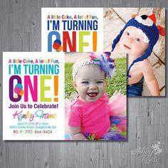 First Birthday Girl Invitation Photo Card - Pearls Glitter Gold ...