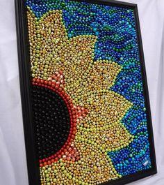Sunflower Art original Mardi Gras bead mosaic