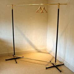 A Vintage / Antique Style Brass Clothing Rail in Bespoke Pieces Wardrobe Rail, Hanger Rack, Garment Racks, Store Displays, Clothes Hanger, Bespoke, Vintage Antiques, Brass, Clothing