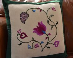 Kit: Tendrils Crewelwork Summer Cushion - Hand Embroidery