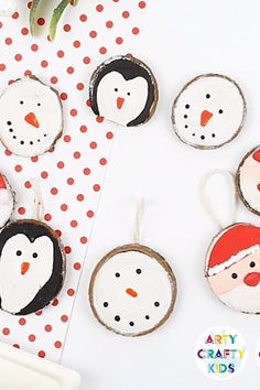 How to make Wood Slice Christmas Ornaments - An easy Christmas Ornament craft for kids to make, with tutorials to make a Snowman, Penguin and Santa Claus Ornament christmas christmasdecor kidscraft christmascrafts christmasornaments 520095456963994967 Easy Christmas Ornaments, Christmas Ornaments To Make, Christmas Crafts For Kids, Christmas Art, Simple Christmas, Holiday Crafts, Christmas Decorations, Snowman Ornaments, 2nd Grade Christmas Crafts