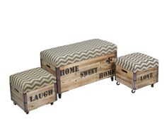 Set de 3 baúles de madera de caucho Oldies | Westwing Home & Living