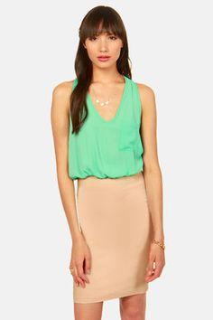 Color blocked mint green dress peplum