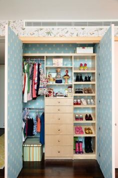 Great kids closet storage ideas - do this a get rid of the dresser...