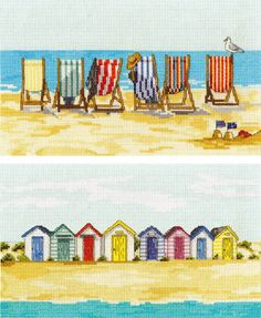 image of Stripey Beach Huts & Deckchairs - Set Of 2 Cross Stitch Kits Cross Stitch Alphabet, Cross Stitch Kits, Cross Stitch Designs, Cross Stitch Patterns, Cross Stitching, Cross Stitch Embroidery, Embroidery Patterns, Beach Quilt, Cross Stitch Pictures