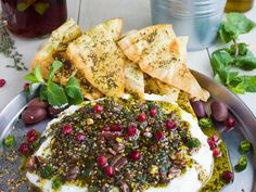 Labneh Dip with Zaatar Pistachio Mint Olive Topping. This the BEST lightest and . Labneh Dip with Zaatar Pistachio Mint Olive Topping. This the BEST lightest and most flavorful method to do a DIP! Use Greek yogurt for a fast . Best Dip Recipes, Favorite Recipes, Dip Recipes For Parties, Cold Dip Recipes, Healthy Dip Recipes, Fast Recipes, Beef Recipes, Kitchen Gourmet, Kitchen Recipes