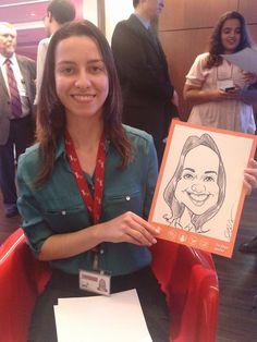 Caricatura ao vivo em papel realizada durante evento para empresa. Todos os convidados receberam a caricatura. Confira outros tipos de caricatura no site oficial abelcosta.com