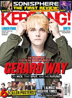 I thinks that this magazine is good to look at in order to get an idea of what I want the layout to look like. This is because the front cover is very busy which I think is good for a music magazine. Media Magazine, My Magazine, My Chemical Romance, Bob Meme, Magazine Front Cover, Magazine Covers, Cry Now, Mikey Way, Bmth