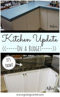 Home Remodeling Diy Kitchen Update on a budget. Countertop paint that looks like granite! Budget Kitchen Remodel, Kitchen On A Budget, Kitchen Redo, New Kitchen, Kitchen Remodeling, Kitchen Cabinets, Granite Kitchen, Diy Kitchen Makeover, House Remodeling