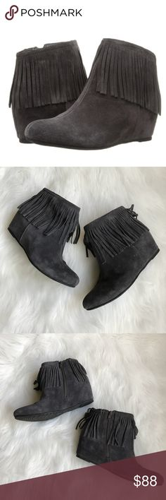 "Comfortiva Riverton Fringed Ankle Wedge Booties Love!! Comfortiva Riverton Fringed Ankle Wedge Booties in Gray Velour Suede! So comfortable!!! Pick up some fringe benefits from the Riverton Boots! Fabric lining & Exclusive Pillowtop® memory foam footbed. Super Lightweight, flexible outsole with a Side zipper & Hidden wedge. Heel Height: 2 1/4"". True to Size. Insole: Pillowtop® Memory Foam. Upper: Velour Suede. Size 9. Worn twice! Minimal signs of wear mostly on toes & back of wedges…"