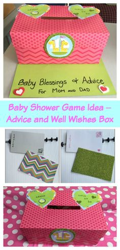 Baby Shower Game Idea – Advice and Well Wishes Box - A baby shower game idea that doubles as advice and well wishes for the new parents. This easy to make idea will become a treasured keepsake for the new baby. You don't need to be craft to out together this baby shower activity that everyone will have fun participating in. #babyshower #babyshowerideas #generneutral #babyshowergames #showergames #babywellwishes #babyshoweractivities via @LittleMissKate