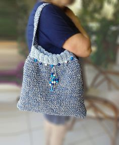 Handmade Bag, Lined Knitted Bag, Summer Handbag with Beads by ManaKori on Etsy