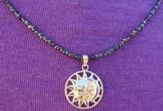 Vintage Glass Seed Bead Necklace Sun Moon by ClareCorreCreations