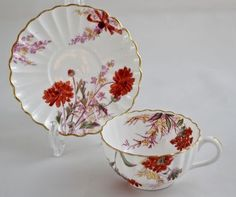Copeland Antique Fluted Hand Painted Teacup and Saucer for T. Goode & Co., London. Go to product at poppyantiques.com