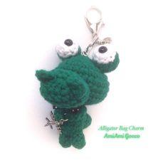 New! Alligator Bag Charm! Look at his funny face! #etsy #etsyshop #etsysellers #handmade #kawaii #alligator #crocodile #amigurumi #crochet #keychain #bagcharm #accessories #unique #green #kidsstuff #airplain #charm #gift #あみぐるみ #ワニ #かわいい #smallbusiness #shophandmade #craft #yarn
