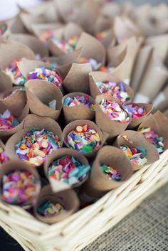 Colorful confetti for guests to throw