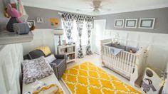 Project Nursery - Boy Gray and Yellow Nursery Room View Grey Yellow Nursery, Nursery Neutral, Gray Yellow, Yellow Rug, Yellow Carpet, Yellow Chevron, Golden Yellow, Bright Yellow, Purple