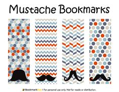 Free printable mustache bookmarks in PDF format. The template includes four different bookmark designs per page. Free Printable Bookmarks, Bookmark Template, Christmas Gift Tags Printable, Free Printables, Mustache Styles, Towel Crafts, Party Gift Bags, Holiday Themes, Handmade Crafts