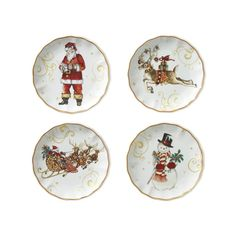 'Twas the Night Before Christmas Mixed Appetizer Plates, Set of 4