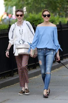 59d535da29 Olivia Palermo in Ripped Jeans and offshoulders blouse