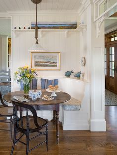 Dining Room Design, Appealing Beach Style Dining Room With Classic White Breakfast Bench Also Mahogany Wooden Dinner Table Also Rustic Wooden Chair With Plait Accent Also Lovely White Pendant Lamp Also Simple Ornament Shelf: Start Your Brave Day from Beautiful Breakfast Bench!
