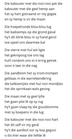 Kabouterliefde - Ingrid Jonker' een van die gedigte wat aan my skoolkinders moes verduidelik. Lyric Quotes, Qoutes, Wedding Poems, Poems Beautiful, Pretty Words, Afrikaans, No Time For Me, Verses, Poetry
