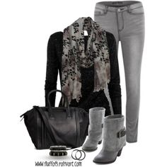Black and Gray | Jeans and Ankle Boots | Fabulous Scarf