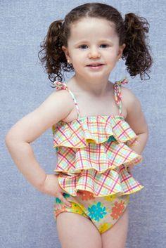 Garden Girl One Piece - Lemons & Limes Kids Swimwear #girlonepiece #ruffles #plaid #flowers #kids