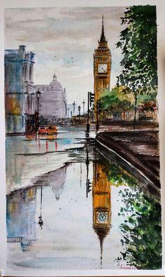 Watercolor Painting by Ambbali Dutta - Doodlewash Watercolor Paintings For Beginners, Watercolor Landscape Paintings, Beginner Painting, Watercolor Portraits, Watercolor Drawing, Amazing Paintings, Amazing Art, Sketchbook Inspiration, Fine Art