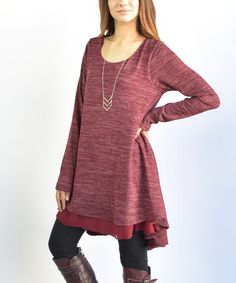 Look at this #zulilyfind! Burgundy Asymmetrical Tunic #zulilyfinds