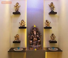 Create these smart, trendy pooja room designs in living room. These stunning pooja room designs in living room will add beauty and serenity to your house. Pooja Rooms, Room Doors, Temple Design For Home, House Interior Decor, Room Design, Room Interior, Room Door Design, Home Temple, Temple Room