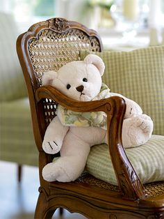 I think this is the teddy bear that Rebecca misplaced. I better get it to her quick so she will take a nap.