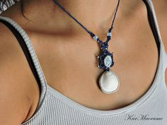 Dendritw ans seashell macrame necklace\handmade\micromacrame by KarMacrame on Etsy