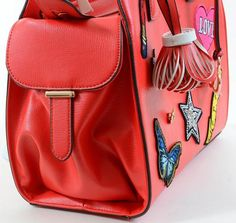 Funky Vegan Embroidered Patch Decor & 3D Metal Tote Bag Red