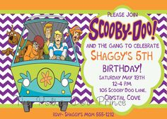 Scooby Doo Birthday Invitation Customized DIY by ThePolkaDotPrince, $10.00