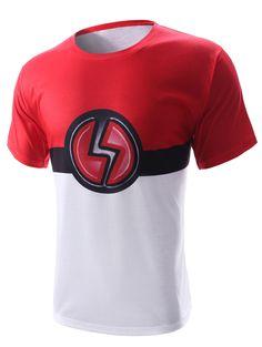 bfa667a5d28 Round Neck Lightning Sign Print Short Sleeve Men s T-Shirt Cheap T Shirts