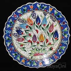 ruya-cini029 Ceramic Decor, Ceramic Design, Ceramic Plates, Ceramic Art, Decorative Plates, Turkish Tiles, Turkish Art, Turkish Design, Painted Plates