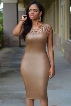 Cap Sleeves & Open Sides Mocha Faux Leather Midi Dress   #Dresses #Chic #Fashion