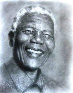 Nelson Mandela.  Triumphant.