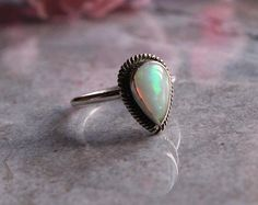 Ethiopian opal ring  Natural Opal Ring  Gemstone by Studio1980, $125.00