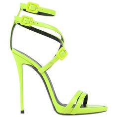 Giuseppe Zanotti NEW SOLD OUT Neon Lime Green High Heels Strappy... ❤ liked on Polyvore featuring shoes, sandals, strappy platform sandals, high heeled footwear, high heel platform sandals, patent leather shoes and high heel platform shoes